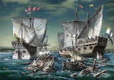 Naos española y holandesa en la Batalla del Lago de Haarlem 1573