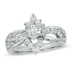 3/4 CT. T.W. Diamond Marquise Frame Engagement Ring in 14K White Gold