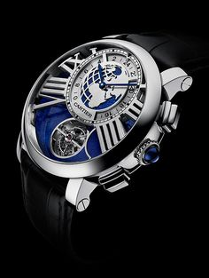 With its bright blue dial and 47-mm platinum case, the Earth and Moon is not for the meek.  A limited series of 50 pieces will be priced at about €230,000, or about $316,500. For those desiring even greater exclusivity, #Cartier will produce a 10-piece edition with diamond baguettes priced at about €490,000, or $674,000.