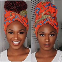 This Headwrap African super wax fabric is a great way to bring a cultural flavor to any outfit! It helps African women become more confident when going out! Hair Wrap Scarf, Hair Scarf Styles, Braid Styles, Curly Hair Styles, Natural Hair Styles, Headband Styles, Black Girls Hairstyles, African Hairstyles, Scarf Hairstyles