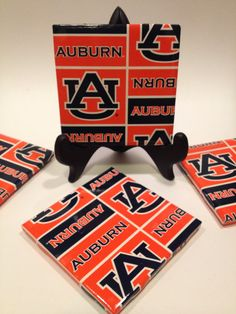 Set of Four Auburn Tigers Tile Coasters. by TheCoasterAttic, $10.00