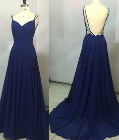 Simple Royal Blue long prom dress, backless evening dress