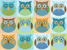 PETUNIAS' Original Fabric - ALEXANDER'S OWL - blue colorway - FAT QUARTER