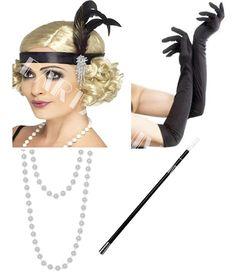 c3b0cea6db48c7 CosmicParty Ladies BLACK Flapper Peaky Blinders 1920's Charleston Fancy  Dress 4 Piece Set - Black Headband