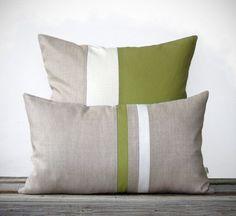 Olive Decorative Pillow Set - (12x20) Stripe Pillow and (20x20) Colorblock Pillow by JillianReneDecor