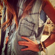 jean vest & bracelets