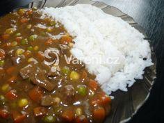 Játra s dobrým sosem a zeleninou. Recept na rychlý vydatný oběd nebo večeři. Vareni.cz - recepty, tipy a články o vaření. Chili, Grains, Food And Drink, Soup, Cooking Recipes, Rice, Menu, Chicken, Cooking