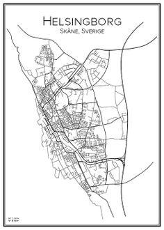 Helsingborg. Sweden. Map. City print. Print. Affisch. Tavla.