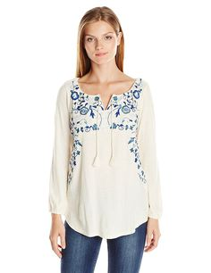 Lucky Brand Women's Embroidred Peasant Top >>> Click image for more details.