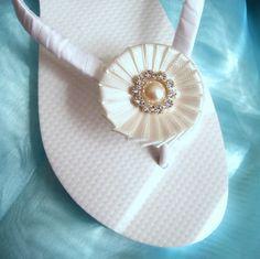 Bridal Flip Flops  White and off white / by ILoveYoYoWedding, $21.99