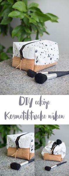 DIY eckige Kosmetiktasche selbernähen - Schritt für Schritt Nähanleitung - mit Korkboden in beliebiger Größe