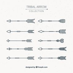 Assortment of tribal arrows in geometric style Free Vector