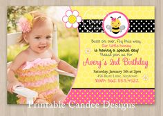 DIY Pink Bumble Bee Birthday Invitation  Custom by printablecandee, $10.00