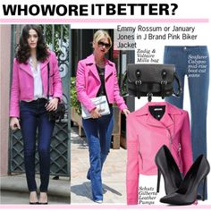 Who Wore It Better?Emmy Rossum or January Jones in J Brand Pink Biker Jacket