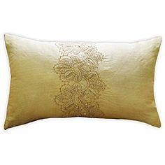 @Overstock - This Florence decorative pillow from Jovi is the perfect accent to any bed or couch. Inspired by handmade quilts, Henna leaf detailing is stitched onto the champagne sheen of this pillow.   http://www.overstock.com/Home-Garden/Jovi-Florence-Decorative-Pillow/6428299/product.html?CID=214117 $32.99