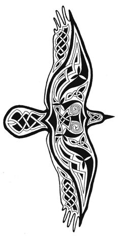 My Celtic Raven T-shirt design someone uploaded. I originally created it to go on the back of a shirt with The Morrigan on the front of the shirt with the wing pattern tattooed across her chest. Just the raven went on to be my most popular T-shirt design. Celtic Tattoos, Viking Tattoos, Tribal Tattoos, Celtic Raven Tattoo, Celtic Knot Tattoo, Crow Tattoos, Sleeve Tattoos, Celtic Symbols, Celtic Art