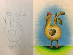 The rooster drawings were colored in while at home instead of traveling.