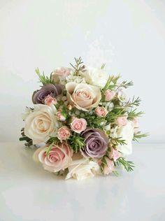 soft pale pink standard and Spray Roses, Lavender Allure Roses, White Waxflower makes for a sweetly fragrant bouquet ~ countryaccentsflowers.com