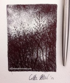 """""""Tall Grass"""" 2013 Ballpoint on paper 2""""x3"""" SOLD Ballpoint Pen Drawing, Small Drawings, Grass, Paper, Pen Drawings, Grasses, Small Paintings, Herb"""