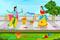 Home Decoration lord krishna and radha playing holi religion paint silk canvas poster print(Accept customization) YS50
