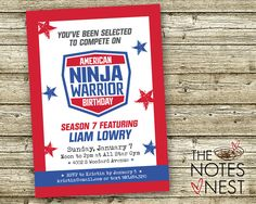 American Ninja Warrior Birthday Invitation by The Notes Nest Color Version: RED/BLUE  Everyone is loving this party theme! By popular demand, we also have a PINK/AQUA VERSION of this invitation --> https://www.etsy.com/listing/489667190.   YOUR ORDER INCLUDES:  • 5 x 7 customized invitation, ready for printing:  - Choose a 2 per page PDF w/cutting guides or single JPEG file  • Personalized digital proof, including childs age listed as the season • FREE upgrade to include backside pattern  •…