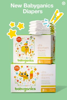 New and improved, Babyganics diapers are ultra-absorbent and feature three awesome updates you and your baby will love. First, they're thinner and provide a closer, more comfortable fit. Second, the enhanced absorbency has premium leak control (less mess? Yes, please!). And third, they have a reformulated core that includes new, plant-based eco-friendly technology. These diapers have been improved to better fit your baby, the environment and your budget.