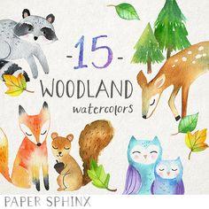 Woodland Watercolors Clipart - Fox, Owl, Deer Animals - Printable hand painted - DIY greeting cards, Scrapbook, Digital Children's Clip Art