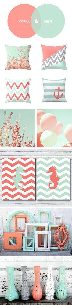 Coral y Menta son los colores de la temporada. ¿Os gustan para decorar la habitación?