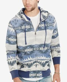 Denim & Supply Ralph Lauren Men's Southwestern Terry Hoodie $69.99 Made from lightweight cotton French terry, this full-zip hoodie is perfect for layering over your favorites tees or button-downs. A faded Southwestern-inspired pattern adds graphic appeal.