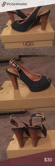 """UGG DENIM PLATFORM 4"""" HEELS UGG W JOHANA DENIM SHOES, 4"""" PLATFORM STACKED HEEL. Upper textile & leather. Dark Blue. In great condition.Size 5.5 UGG Shoes Heels"""