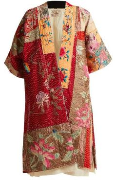 By Walid Akiko Embroidered Panelled Silk Kimono Womens Beige Multi Kimono Coat, Silk Kimono, Kimono Style, Kimono Fashion, Boho Fashion, Fashion Design, By Walid, Diy Vetement, Boro