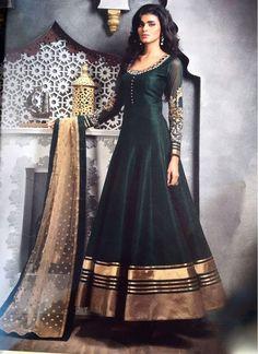 Charismatic Black Bhagalpuri Silk Designer Floor touch Anarkali suit