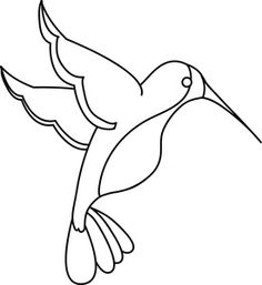 Hummingbird Clipart Image: Clip Art Illustration Of An Outline Of A Hummingbird String Art Templates, String Art Patterns, Bird Outline, Bird Template, Animal Templates, Bird Crafts, Bird Drawings, Stained Glass Patterns, Applique Patterns