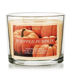 "Whipped Pumpkin Candle is for $9.99, until 9/15.  Your favorite fall treat: Notes of pumpkin, cinnamon, nutmeg and vanilla. Wax in 11 oz. glass jar with brushed metal cover. 3 1/2"" H x 3 3/4"" diam. Made in the USA. 30 hours of burn time."