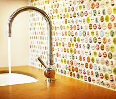 Bottle Caps Kitchen Backsplash - adds pops of color to the kitchen, quirky and fun feeling #LGLimitlessDesign #Contest