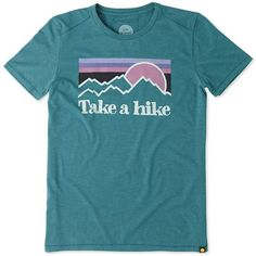 Life Is Good Take a Hike Tee (£15) ❤ liked on Polyvore featuring tops, t-shirts, shirts, tees, t shirt, beachy teal, graphic tees, crew neck shirt, crew neck t shirt and crew shirt