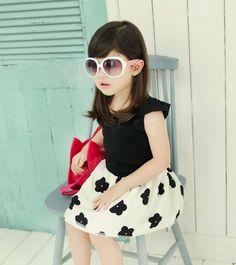 korean models Fly sleeve kids dresses for girls Princess Dress summer kids clothes  black hot pink 3-7T