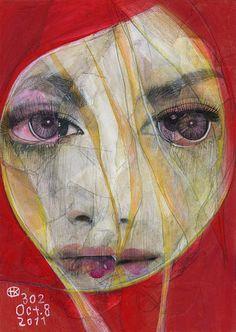 Broken face portraits by Tokyo-based illustrator and collage artist Takahiro Kimura