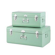 2 baúles de metal azul claro 35 x 56 cm