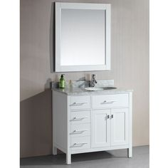 Contemporary Art Websites London Inch Single Sink White Drawer Vanity Set in Finish Overstock