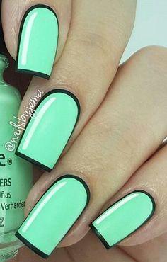 Bright pastel green cartoon nails design @dailynailartpics