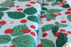 Raspberry Bramble in Green - Forest Meadow Colorway - Lovely Hunt by Lizzy House for Andover Fabrics