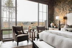 Luxury Mountain Lodge With Vaulted Ceilings, Huge Stone Fireplaces Interior Design Utah, Ranch Style Decor, Custom Bunk Beds, Bedroom With Sitting Area, Farmhouse Style Bedrooms, Bedroom Seating, Rustic Contemporary, Take A Seat, Master Bedroom