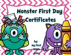 "Just a fun little certificate to hand out to students on the first day of school! Your little ""monsters"" will love going home with this cute certificate! Make it even more special by taping a ""Smartie"" to the certificate! I have included certificates for Preschool through 3rd grade.Have a great first day of school!Other Monster products here:Monster Classroom HeadersMonster How We Get HomePlease consider following my store if you grab this freebie!"