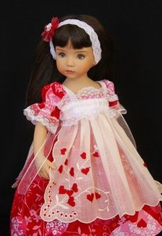 "Hearts Old and New  Fiona~ a 13"" tall Little Darling studio doll by Dianna Effner ~ models an ensemble that celebrates Valentine's Day in gloriously feminine style. This One Of A Kind ensemble consists of dress, pinafore, tights, and headband, by Glorias Garden 