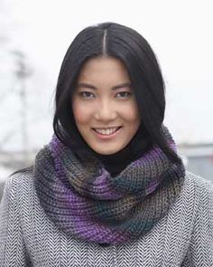 Luxurious ribbed cowl knit in Bernat Mosaic.
