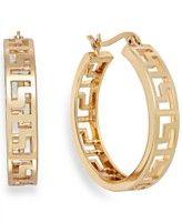 Charter Club Gold-Tone Greek Key Hoop Earrings