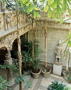 Dodie Rosekrans' San Francisco residence is a replica of a Renaissance palace in Saragossa, Spain. Sculptor Leo Lentelli executed the ornate, carved stonework in the atrium, depicting frolicking cherubim, Bacchus, knights and monks.