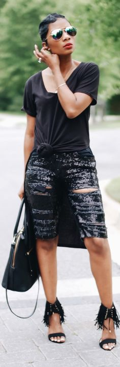 Sequin Shorts // Fashion Look by Young At Style