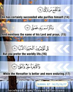 Verses from Quran : He has certainly succeeded who purifies himself * And mentions the name of his Lord and prays. * But you prefer the worldly life, * While the Hereafter is better and more enduring.  #Quran 87:14/15/16/17  { قد أفلح من تَزَكى } * { وذكر ٱسم ربه فصلى } * { بل تؤثرون الحياة الدنيا } * { والآخرة خير وأبقى } #آية